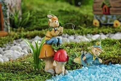 Miniature Dollhouse FAIRY GARDEN - Enchanted Forest Fishing Pixie - Accessories