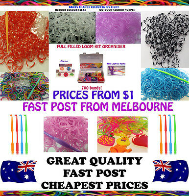 Loom Bands refills charm band refill kits deluxe hook clips charms looms kit 300