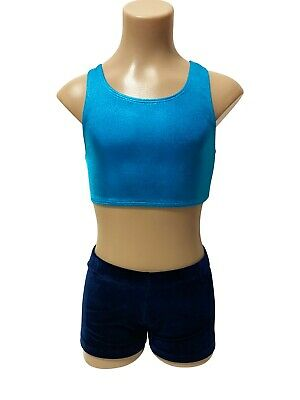 NEW NAVY VELVET TURQUOISE SHINY CROP SET AS Girl 14 Gymnastics Two Piece Leotard