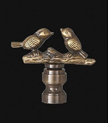 "LOVE BIRDS LAMP FINIAL ~ Antique Brass Finish { 2"" Tall } ~ #LE20"