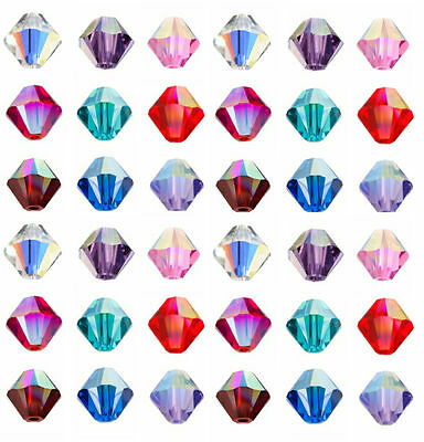 100pcs Faceted Glass Crystal Fingings Loose Bicone Spacer Beads 4mm AB Colors