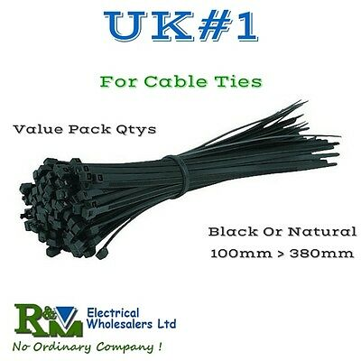 Quality Cable ties/ Tie Wraps - Black & Natural 100mm - 380mm Value pack prices