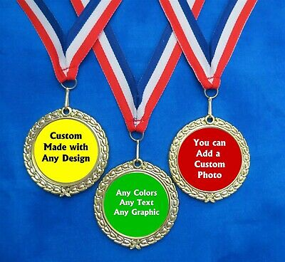 3 Custom Design Neck Ribbon Award Medals Race Derby Contest Sports Recognition