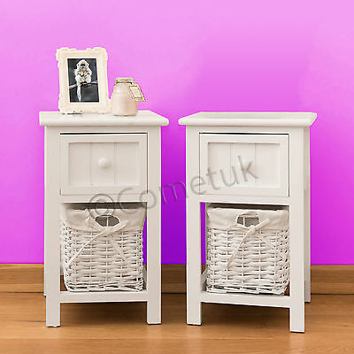2 Pair Of Shabby Chic Wooden Wicker Cabinet Storage Bedroom Drawer Table Basket