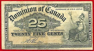 1900 CANADA 25 Cents Note 9b Fine-VF