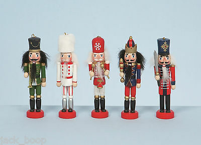 "Set Of 5 Wooden 5"" Nutcracker Soldier Christmas Tree Decorations Boxed"