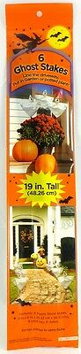 New -  6 19in. stakes w/6 ghost bags 8in. x 8in. - Halloween Holiday Decoration