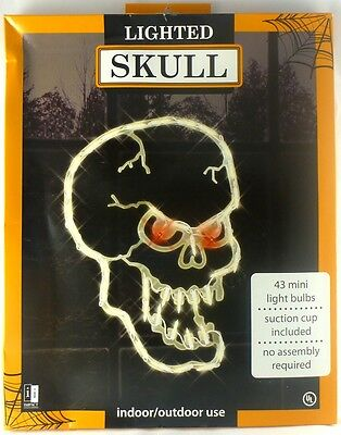 New Halloween Lighted SKULL Window Silhouette Scary Holiday Decor 12x17.5 in