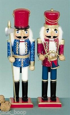 "Single Nutcracker Soldier Xmas Decoration 15"" Foil Jacket Drummer Or Sentry"