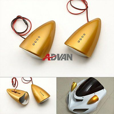 Metallic Gold Custom LED Mirrors Turn Signals For Suzuki Hayabusa GSXR1300 08-15