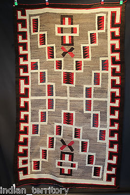 LARGE ~4x7 Antique c.1920 Navajo Storm Pattern Rug  for Floor or Wall Use