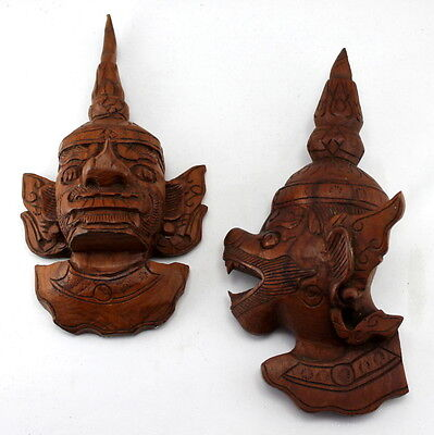 Hand Carved Wooden Thai god Heads Set of Two