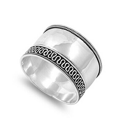 Sterling Silver Women's Bali Ring Wide 925 Band Rope Swirl Design Sizes 5-12