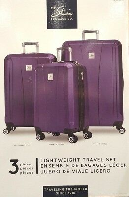 Skyway Oasis 3 Piece Luggage Travel Suitcase Bags Spinner 4 wheels Lightweight