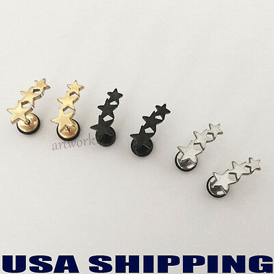 Stars 316L Stainless Steel 8mm Mens /Womens Earrings Ear Screw Stud