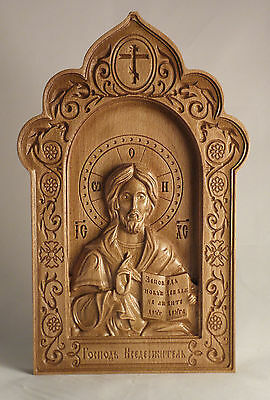 Orthodox Wooden Carved Icon God Almighty, Christian Gift.