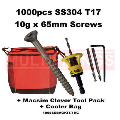 1000pcs 10g x 65mm SS304 Decking Screws + Clever Tool + Cooler Bag
