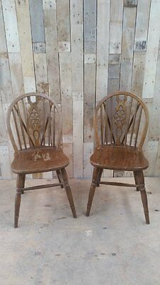 Retro Vintage Pair Of Wheelback Chairs (Ercol??) - Upcycle???2
