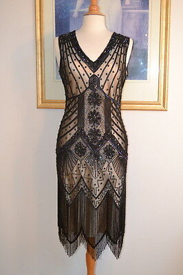 1920s Style STARLIGHT Black Iridescent Beaded Flapper Dress-S,M,L,XL or Plus siz
