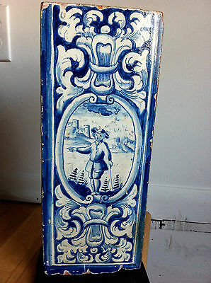 Delft Blue and White Large Scale Stove Tile, 18th Century