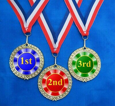 1st 2nd 3rd Neck Ribbon Award 3 Medals Race Derby Contest Sports Colors BRG