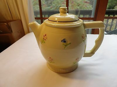 Fraunfelter Thermo Proof Teapot - Light Yellow, Banded, With Flowers - Beautiful