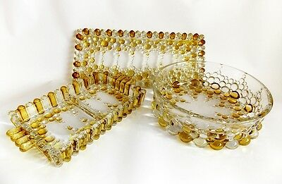 Vintage 1950s Walther Glas Bubble Boopie Glass Tray Sets Bowl Amber & Clear