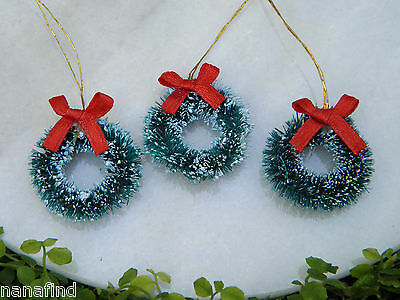 "1"" Green Sisal Bottle Brush CHRISTMAS Wreath ~ Set of 3 ~ Snow Village Putz"