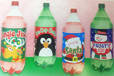 Festive Christmas Soda Bottle Labels 4 Pack Party Decoration Stickers