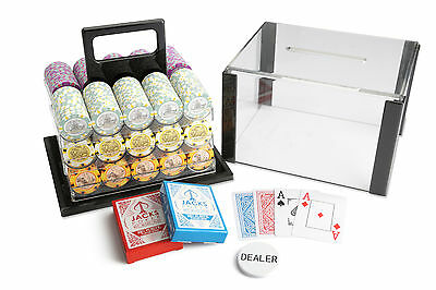 600 Chips Poker Game Set Acrylic Case Aussie Currency 14g Chips Plastic Cards