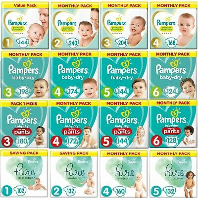 Pampers New Baby Nappies /Pants/ Pure Pack Size 0 1 2 3 4 4+ 5 5+ 6 7 8 Mega Box