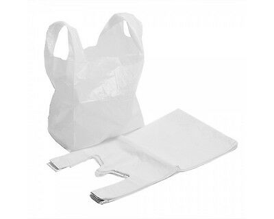 "Strong White Plastic Carrier Bags 16""x24""x29"" Extra Large Big Bull Giant 22mu"