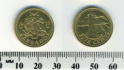 Barbados 1973 - 5 Cents Brass Coin - South Point Lighthouse