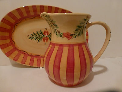 Gail Pittman Siena Ceramic Oval Platter 48oz Pitcher for Southern Living  (S5