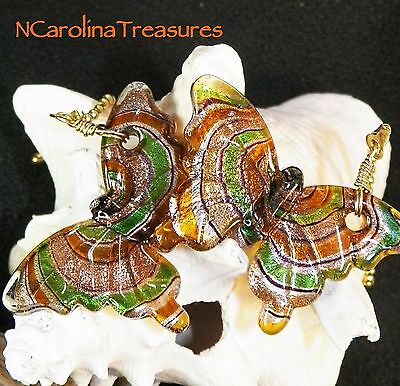 Gold Green Copper Butterfly Glass Ceiling Fan Light Switch Pull Large Pair  B108