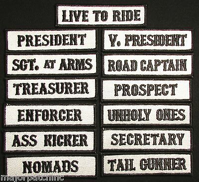 Sons Of Outlaw Mc Club Vice President Officer Title Biker 13 Front Patch Set Usa