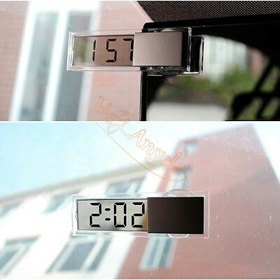 LCD Auto Vehicle Car Window Windshield Tranparent Electronic Clock Suction Cup