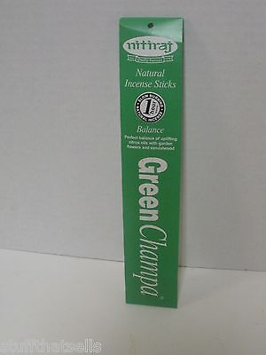 Nitiraj Green Champa Incense - Balance / Color Aromatherapy