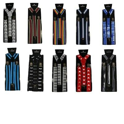 Mens Pattern Print Suspenders Braces Adjustable Formal Womens - Many Designs!