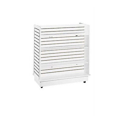 """New White Slatwall Gondola with 6 Shelves w/Base and Casters - 24"""" x 48'' x 48''"""