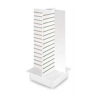 """New White 4-Panel Slatwall Tower with Rolling Base 23""""L x 23""""W x 54""""H"""