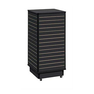 """Retails Black Finished Slatwall Tower with Rolling Base 24""""L x 24""""W x 54""""H"""