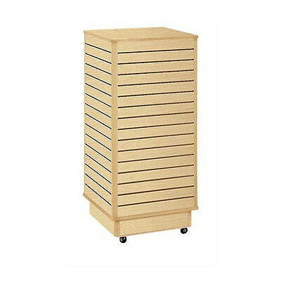 """Retails Maple Finished Slatwall Tower with Rolling Base 24""""L x 24""""W x 54""""H"""