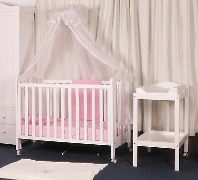 New Classic Cot Change Table Mattress Package White Crib Baby Bed White