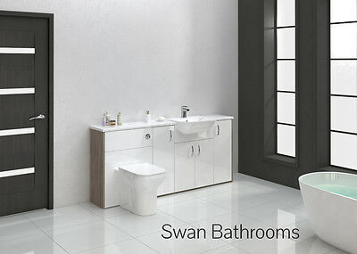 Driftwood / White Gloss Bathroom Fitted Furniture 1800Mm