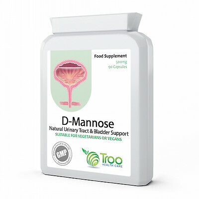 D-Mannose 500mg 90 Capsules UTI & Bladder Support GMP Guaranteed Quality UK