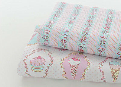 One PCS Cotton Fabric Pre-Cut Cloth Fabric for Sewing Ice Cream Cake Pattern