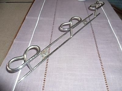 Vintage LOFT French Chrome COAT Rack  w/ 3 Hooks Pegs