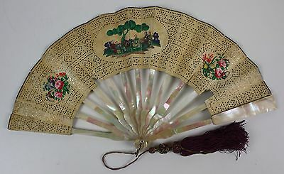 Ab-146. Fan. Sticks Nacre. Paper With Carved Faces. Hand Painted. 19Th C.