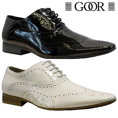 New Mens Faux Leather Patent Italian Casual Formal Brogue Office Wedding Shoes
